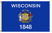 Wisconsin 8'x12' Nylon State Flag 8ftx12ft