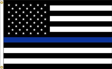 Thin Blue Line US American 2ftx3ft Nylon Flag