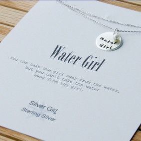"Boating Necklace - ""WaterGirl"" Round Nautical"