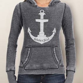 Women's Hoodie - WaterGirl Pinstripe Anchor Burnout