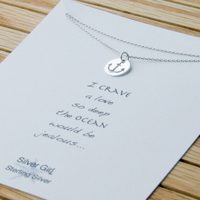 Anchor Necklace - Sterling Silver Cutout