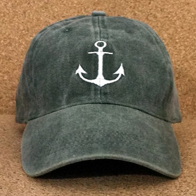 Nautical Hat by WaterGirl -Distressed Olive Green Ball Cap