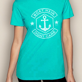 Women's Boating T-Shirt- Boat Hair Crew Neck