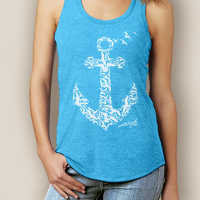 Boating Tank Top- WaterGirl Seagulls Anchor Signature Tri-Blend Racerback ( More Color Choices)