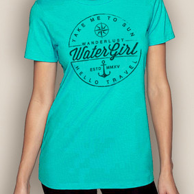 Women's Boating T-Shirt- Wanderlust Crew Neck