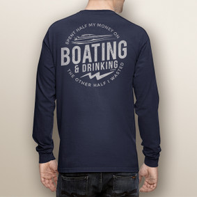 Men's Boating Long Sleeve with Pocket  - Nautiguy Drinking (More Color Choices)