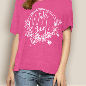 WaterGirl Boating Relaxed Tee-Flowers ( More Color Choices)