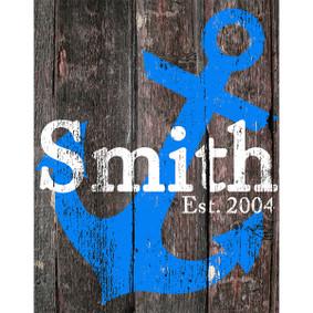 Custom Printed Blue Anchor Wood Sign