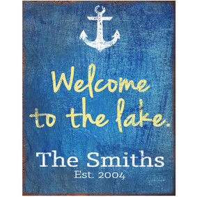 Custom Welcome to the Lake Metal Sign