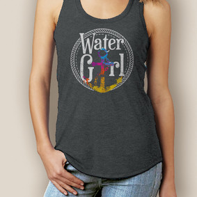 Boating Tank Top- WaterGirl Rope Anchor Signature Tri-Blend Racerback
