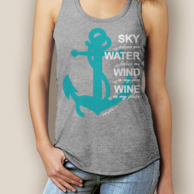 Boating Tank Top- WaterGirl Sky, Water, Wind, Wine Signature Tri-Blend Racerback