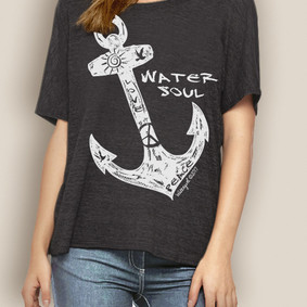 WaterGirl Boating Relaxed Tee-Freestyle Anchor ( More Color Choices)