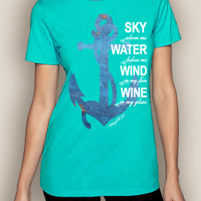 Women's Boating T-Shirt- Sky, Water, Wind Crew