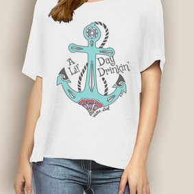 WaterGirl Boating Relaxed Tee-A Lil' Day Drinkin'