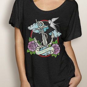 WaterGirl Boating Dolman Tee - WaterGirl Tattoo Anchor (More Color Choices)