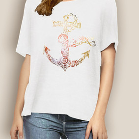 WaterGirl Boating Relaxed Tee-Tribal Anchor