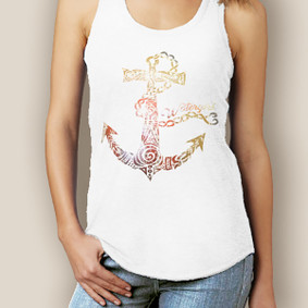 Boating Tank Top- WaterGirl  Tribal Anchor Signature Tri-Blend Racerback