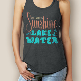 Boating Tank Top - WaterGirl Sunshine & Lake Water Signature Racerback  (More Color Choices)