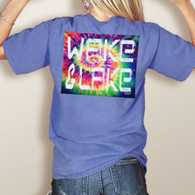 WaterGirl's Wake & Lake Block Tie-Dyed-Comfort Colors Pocket Tee (More Color Choices)