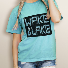 Girl's Wake & Lake Edgy-Comfort Colors Tee  (More Color Choices)
