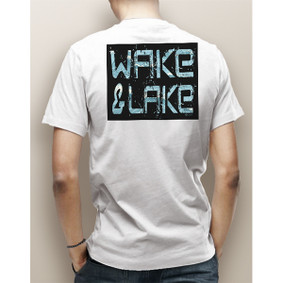 Guy's Wake & Lake Block Edgy with Waves Pocket Tee