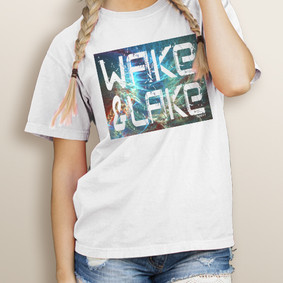 Girl's Wake & Lake Fractal Tye Dye -Comfort Colors Tee (More Color Choices)