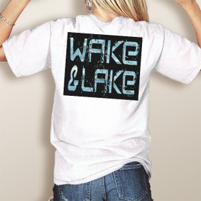 Wake & Lake Edgy Block with Waves-Comfort Colors Pocket Tee (More Color Choices)