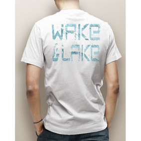 Guy's Wake & Lake Edgy Waves Pocket Tee