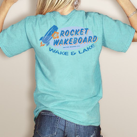Wake & Lake Rocket Wakeboard Colors Pocket Tee (More Color Choices)