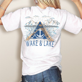 Wake & Lake Mountains and Lake-Comfort Colors Pocket Tee (More Color Choices)