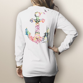 Watergirl Seagulls Floral- Comfort Colors Long Sleeve Pocket Tee (More Color Choices)