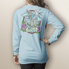 Watergirl Tattoo Anchor- Comfort Colors Long Sleeve Pocket Tee (More Color Choices)