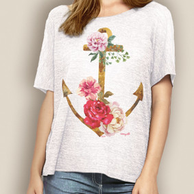 WaterGirl Boating Relaxed Tee- Anchor Rose