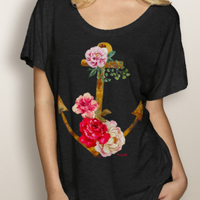 WaterGirl Boating Dolman Tee- Anchor Rose (More Color Choices)