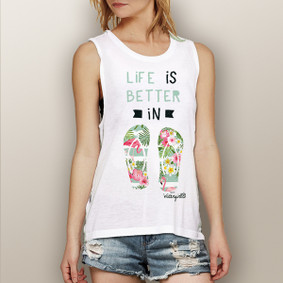 Life is Better in Flip Flops (Flamingo Design) -  Muscle Tank (more color choices)