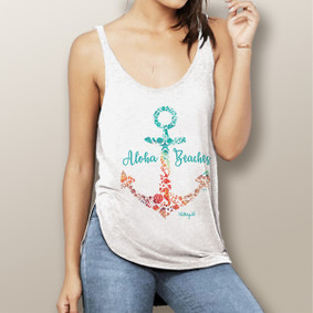 Aloha Beaches -  Flowy Side Slit Tank