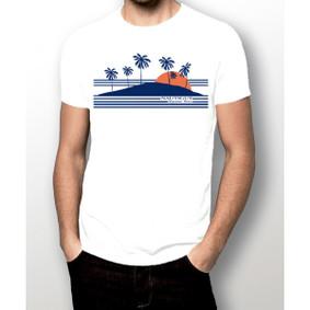 Men's Boating T-Shirt- Sunset & Palm