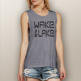 Wake & Lake Black Grunge  -  Muscle Tank (more color choices)