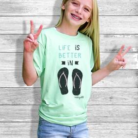 Youth Short- Sleeve-  Life is Better in Flip Flops (plain design)