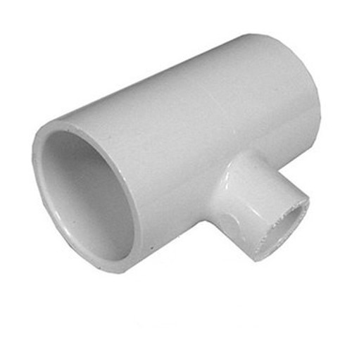"White PVC TEE  2-1/2"" Slip x 1-1/2"" Slip Reducing  x 2-1/2"" Slip"