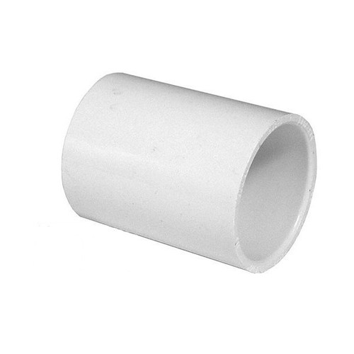 "White PVC Coupling - 3/4"" Slip socket"