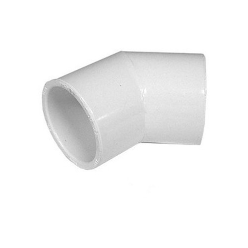 "White PVC Elbow - 1-1/2"" Slip, 45 Degrees"