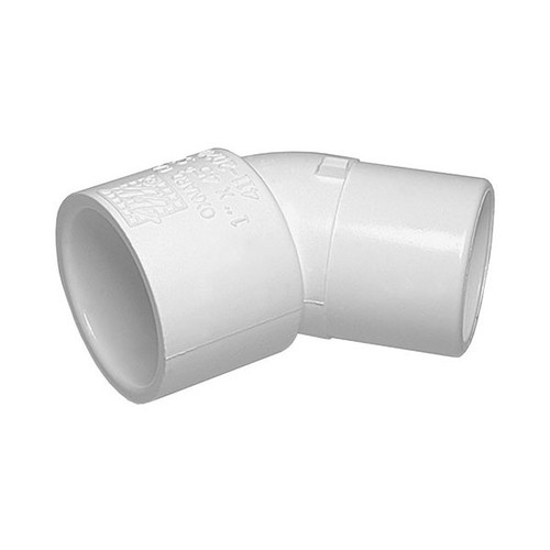 "White PVC Street Elbow - 1-1/2"" Slip x 1-1/2"" Spigot, 45 Degrees"
