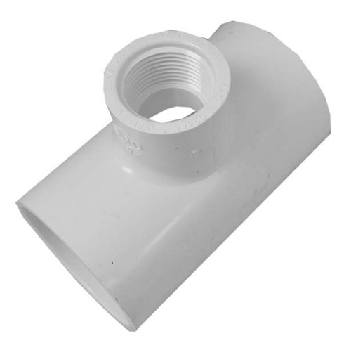 "White PVC TEE 2"" Slip x 2"" Slip Reducing 3/4"" FPT"