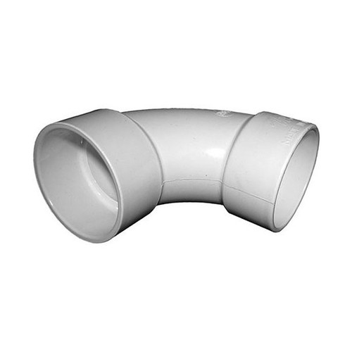 "White PVC Sweep Elbow - 1-1/2"" Slip x 1-1/2"" Slip"