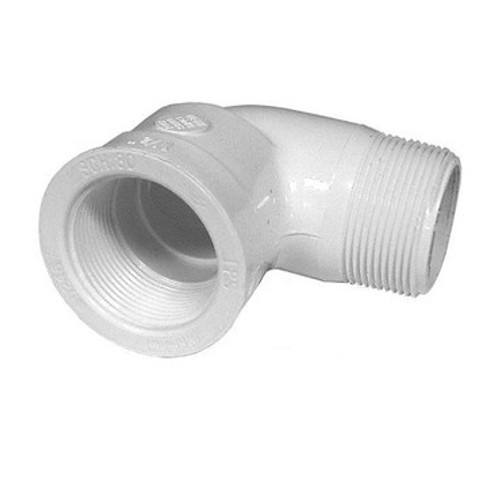 "PVC Street Elbow - 1-1/2"" MPT Thread x 1-1/2"" FPT"