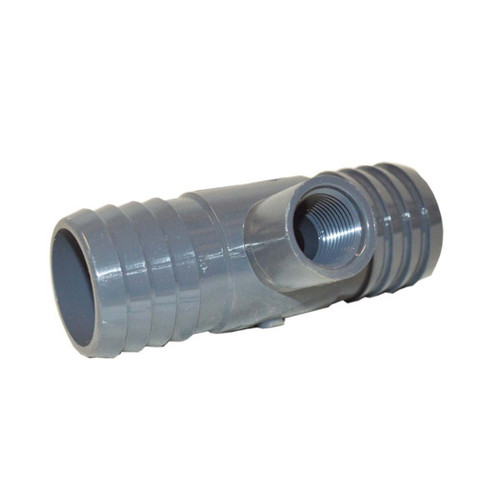 "PVC Insert Fitting Tee- 1-1/2"" Barbed x 1-1/2"" Barbed x 1/2"" FPT"