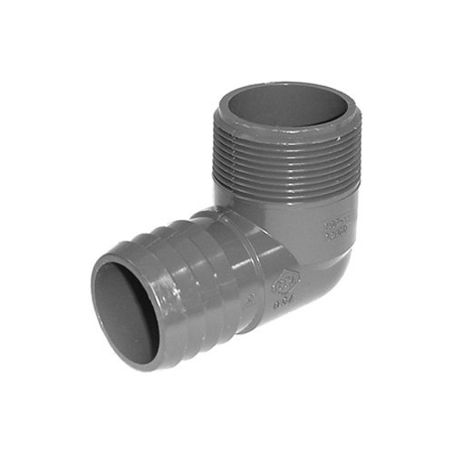 "PVC Insert Fitting Elbow - 1-1/2"" Barb x 1-1/2"" MPT"