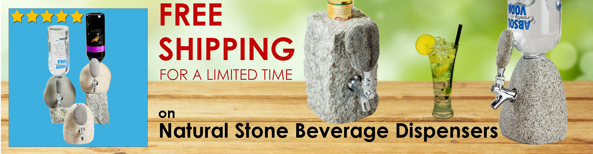 "Natural Stone Beverage Dispenser (also known as ""the booze dispenser""), choose granite cobblestone or natural stone"
