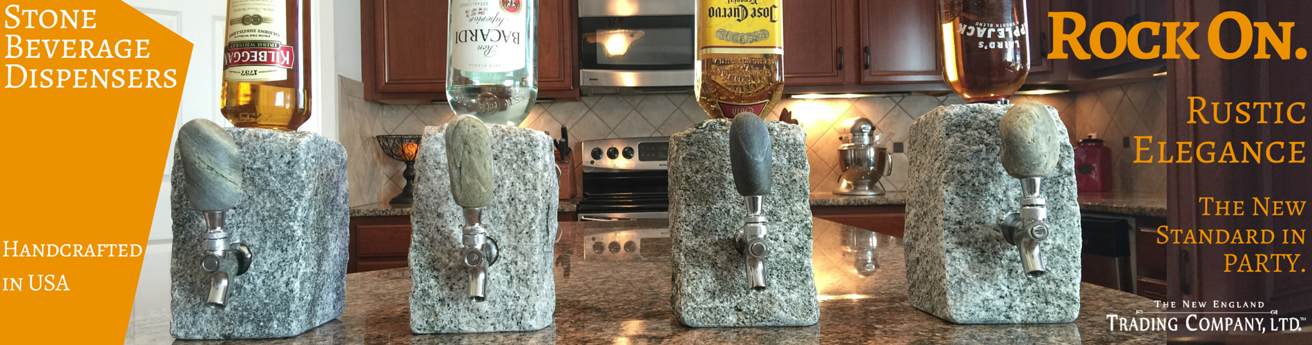 Stone Beverage Dispenser, Granite Cobblestone Handcrafted in USA